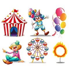 A circus tent clowns ferris wheel balloons and a vector image vector image