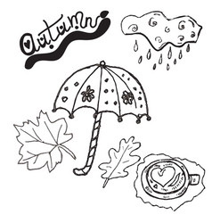 autumn clipart set hand drawn pictures vector image vector image