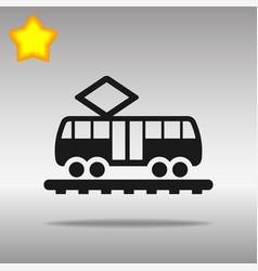 Black tram icon button logo symbol concept high vector