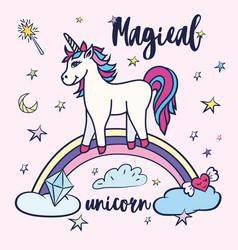 cute unicorn greeting card magical unicorn vector image vector image