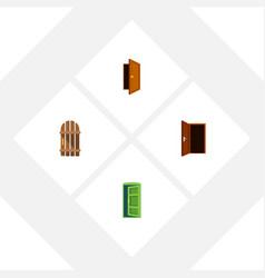 flat icon door set of frame wooden fence entry vector image