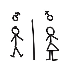 Line hand drawing of man and woman vector image vector image