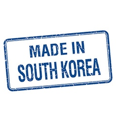 made in South Korea blue square isolated stamp vector image vector image