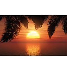 palm trees against sunset sky 1305 vector image vector image