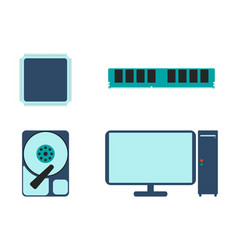 cpu ram hdd and computer icon vector image