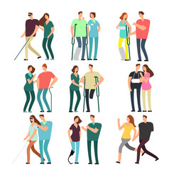 disabled people with caring friends handicapped vector image