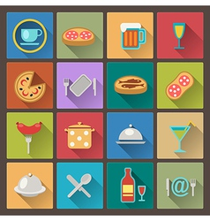 dishes and food icons in flat design style vector image vector image
