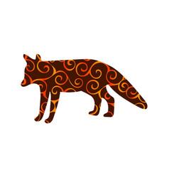 Fox wildlife color silhouette animal vector