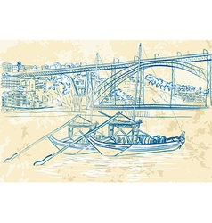 Hand Drawn Sketch of Boats Docked vector image vector image