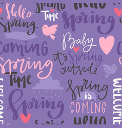 spring time lettering text greeting card vector image