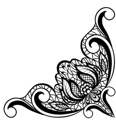 black and white floral arrangement in border vector image vector image