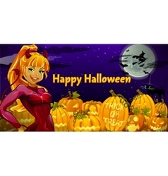 Girl is the main character in Halloween night vector image