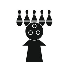 skittle and ball for bowling in silhouette style vector image