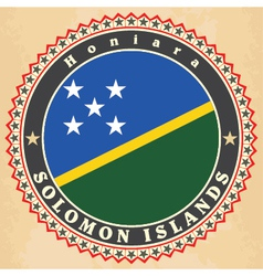 Vintage label cards of solomon islands flag vector