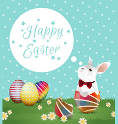 easter egg and bunny on polka dot vector image