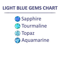 Gems blue color chart vector