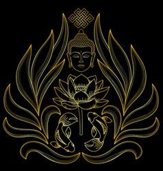 gold buddha pattern vector image vector image