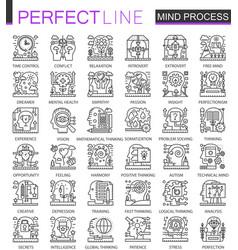 mind brain process outline mini concept symbols vector image vector image