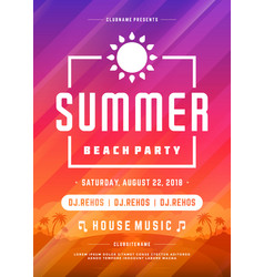retro summer party design poster or flyer on vector image