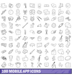 100 mobile app icons set outline style vector image