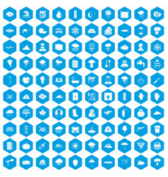 100 thunderstorm icons set blue vector