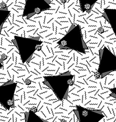 80s triangle seamless pattern in black and white vector