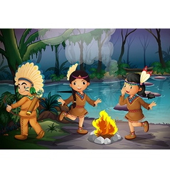 A forest with three young Indians vector