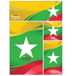 Abstract myanmar flag background vector