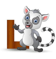 alphabet l with lemur cartoon vector image