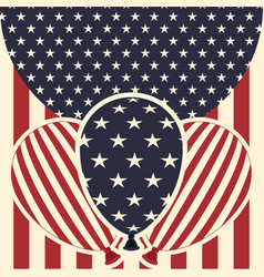 American flag pattern background with balloons vector