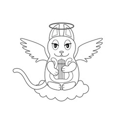 An angel cat with wings and a halo sits on a cloud vector