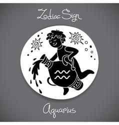 Aquarius zodiac sign of horoscope circle emblem vector