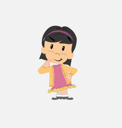 Asian girl thoughtful and happy vector