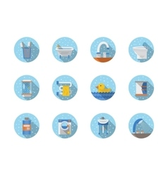 Bathroom and hygiene round flat icons vector image