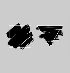 Black brush stroke over triangle and square frame vector