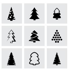 Black cristmas trees icon set vector