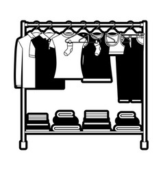black sections silhouette of clothes rack with t vector image