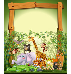 Border template design with cute animals in vector