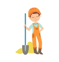 Boy With The Spade And Pile Of Sand Kid Dressed vector