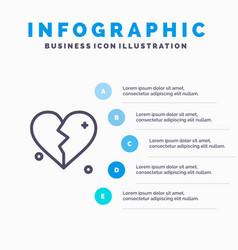 broken love heart wedding line icon with 5 steps vector image