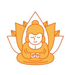 Buddha and lotus religious sacred vector