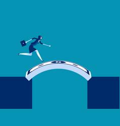 Businesswoman running cross money bridge concept vector