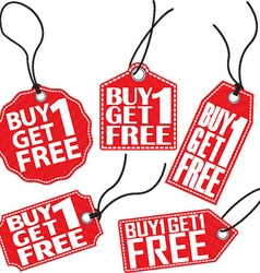 Buy 1 get 1 free red tag set vector image