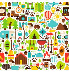 camping flat seamless pattern vector image