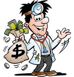 cartoon a doctor making money vector image