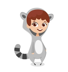 cartoon style of girl in costume raccoon Isolated vector image