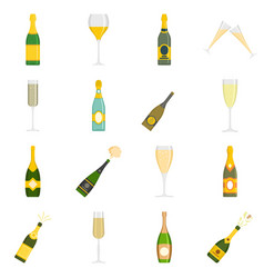champagne bottle glass icons set isolated vector image