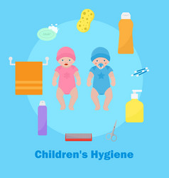 Children s health and hygiene icons banner vector