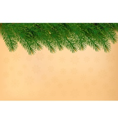 Christmas background with branches of tree and old vector image
