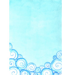 cloud border and blue sky watercolor hand painting vector image
